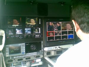 View at an ABS-CBN ENG van of The Buzz episode during the wake of Cory Aquino (Shot by Anjo Bagaoisan)