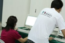A UP Linux Users' Group (UnPLUG) member monitors the electronic election.