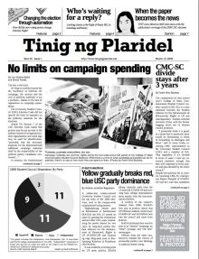Frontpage of Tinig ng Plaridel's post election issue for 2009