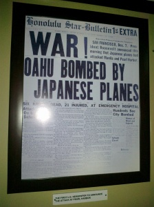 Newspaper headline from 1941 of the attack on Pearl Harbor starting Pacific World War II