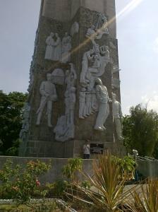Base of the cross at Dambana ng Kagitingan showing heroes like Jose Rizal and Andres Bonifacio (Shot by Anjo Bagaoisan)