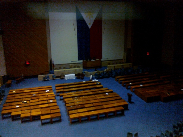 House of representatives plenary hall the morning before President-elect Noynoy Aquino is proclaimed, June 9, 2010