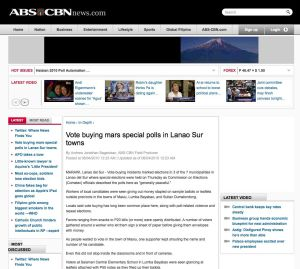 Vote buying mars special polls in Lanao Sur towns screenshot from ABS-CBNnews.com