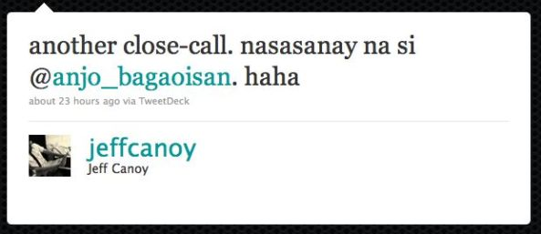 another close-call. nasasanay na si @anjo_bagaoisan. haha Twitter @jeffcanoy