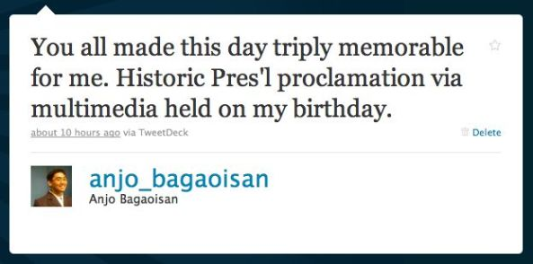 "@anjo_bagaoisan on Twitter: ""You all made this day triply memorable for me. Historic Pres'l proclamation via multimedia held on my birthday."""