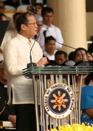 President Noynoy Aquino delivering his inaugural address. From Tinig ng Plaridel's Nikki Palacios