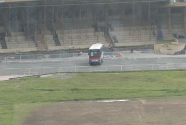 Wide shot of bus in Quirino Grandstand