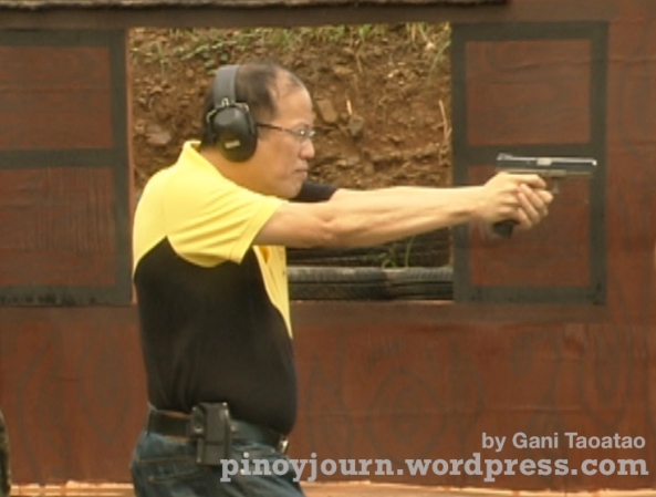 President Noynoy Aquino target shooting at Fort Magsaysay Sept 10