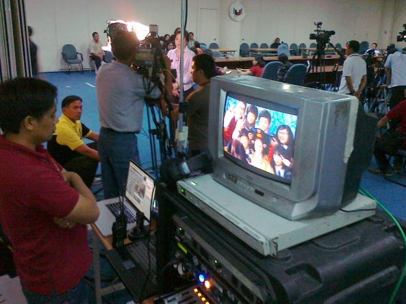 ABS-CBN News set up at Lacson press conference Shot by Anjo Bagaoisan
