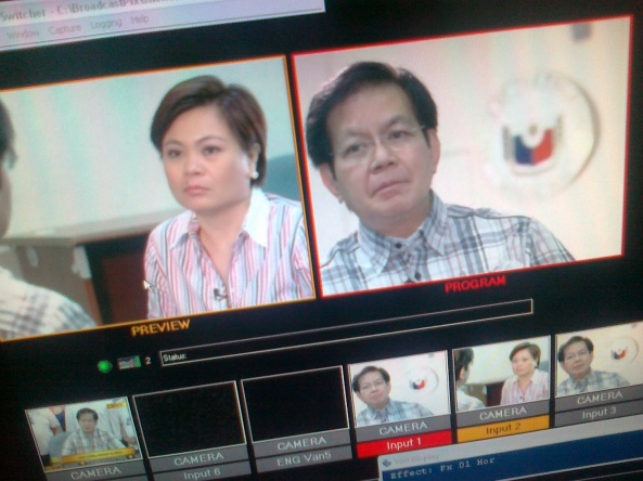 Video switcher shot of Lynda Jumilla and Ping Lacson, Shot by Anjo Bagaoisan March 28