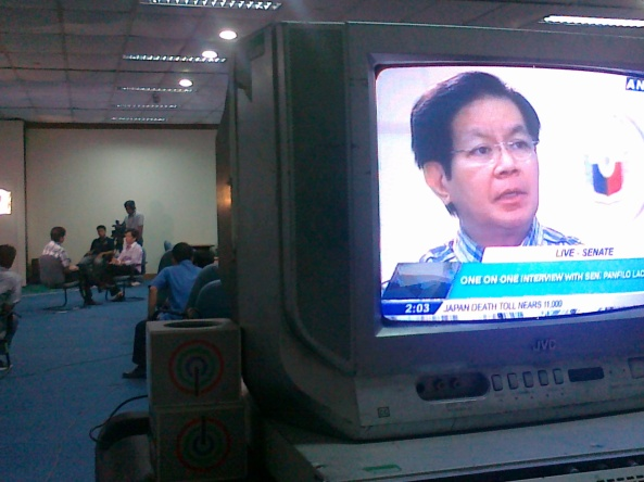 Interview of Lacson on ANC by Lynda Jumilla March 28, Shot by Anjo Bagaoisan