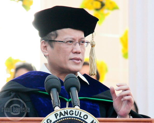 President Aquino speaking at 2011 UPD graduation. Shot by Ronin Bautista