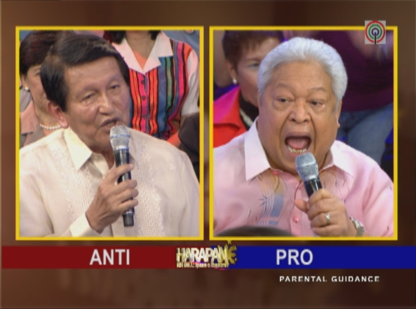 Rep. Lagman and Rep. Golez facing off in Harapan RH Bill Ipasa o Ibasura (Screen grab from ABS-CBN)