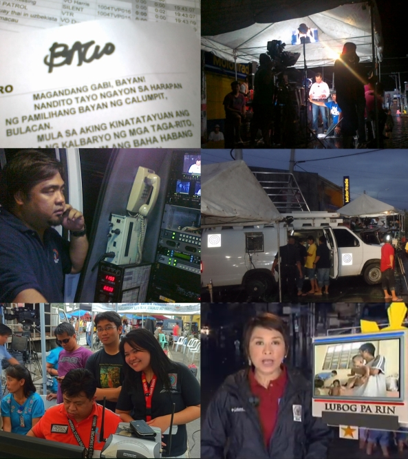 Scenes of ABS-CBN anchoring setup in flooded Calumpit Bulacan