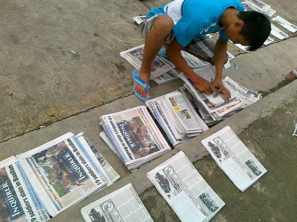 Zamboanga City Newspapers being assembled from Manila (Shot by Anjo Bagaoisan)