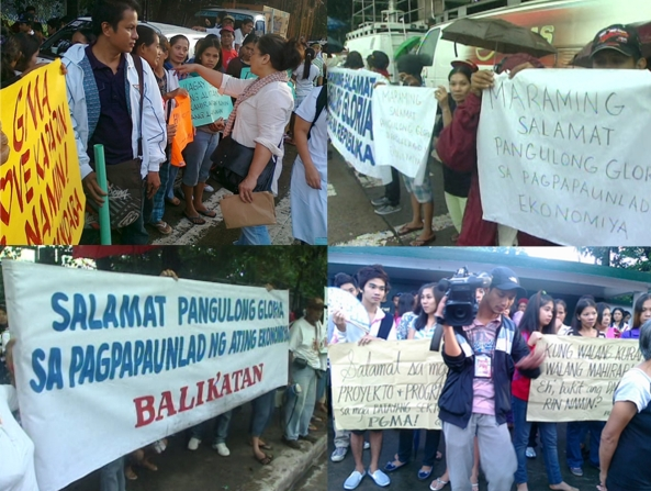 Pro-Gloria Arroyo rallyists outside Veterans Memorial Medical Center Dec 9 2011