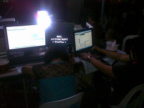 ABS-CBN News Computer setup at Quiapo 9 Jan 2012 Shot by Anjo Bagaoisan
