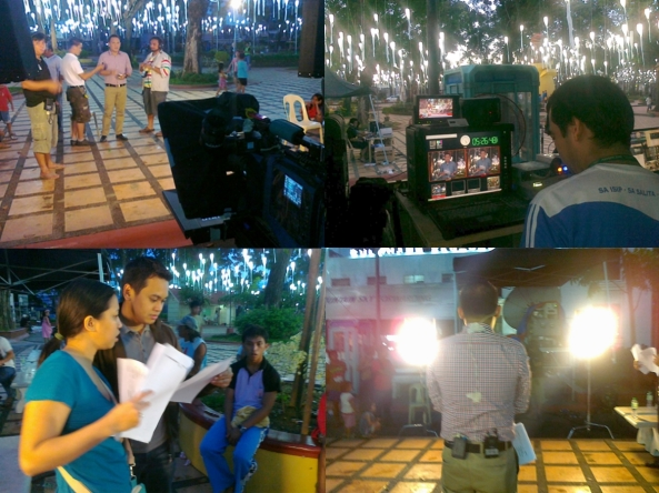 Alvin Elchico anchoring TV Patrol in Cagayan De Oro plaza, Christmas day 2011 with RNG staff (Shots by Anjo Bagaoisan)