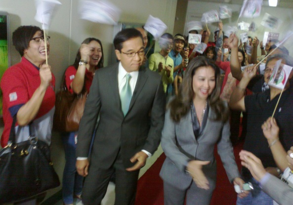 Ted Failon and Korina Sanchez welcomed to TV Patrol anniversary March 5 (Shot by Anjo Bagaoisan)