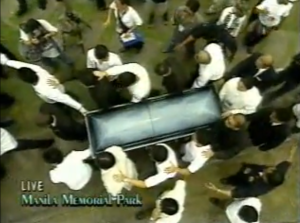Pallbearers carry Rico Yan casket during his funeral in 2003 (courtesy ABS-CBN)
