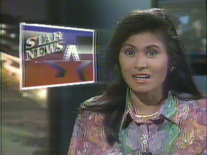 Angelique Lazo, first anchor of TV Patrol's Star News (courtesy ABS-CBN)