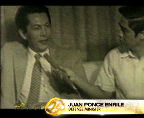 Juan Ponce Enrile as Philippine Defense minister in the 1970s (Footage courtesy of ABS-CBN News and Current Affairs' EDSA 25 documentary)
