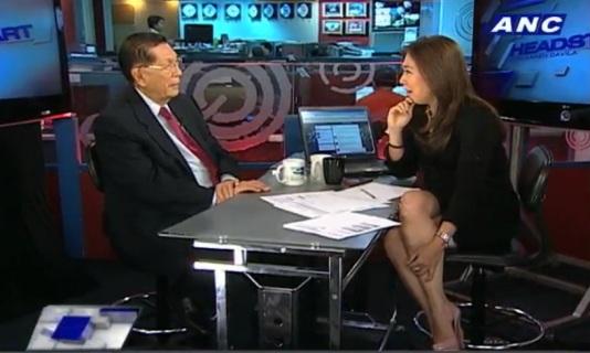 Senate President Juan Ponce Enrile with Karen Davila on ABS-CBN News Channel Headstart (Courtesy ANC)