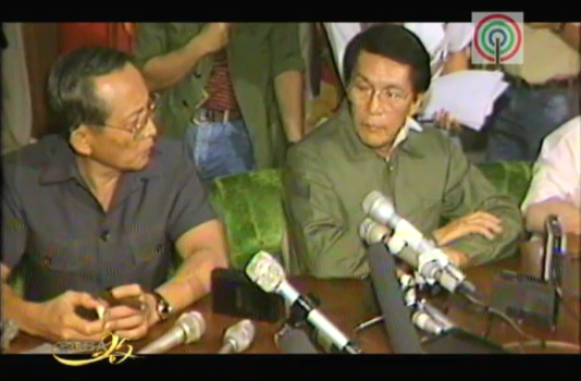 Juan Ponce Enrile and Fidel V. Ramos withdrawing support for Marcos in 1986. (Footage courtesy of ABS-CBN's EDSA 25 documentary)