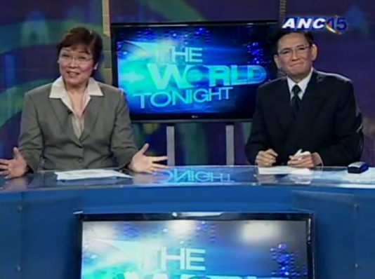 Angelo Castro Jr returns to The World Tonight with Tina Monzon-Palma on Nov. 7, 2011 (Courtesy: ANC)
