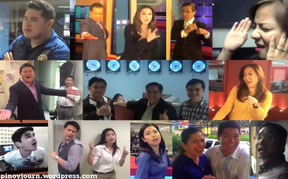 Composite screenshot of ABS-CBN journalists in video cover of I Want It That Way
