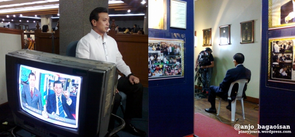 Sen. Antonio Trillanes being interviewed on GMA 7 24 Oras while Sen. Juan Ponce Enrile is being interviewed on ABS-CBN TV Patrol (Shot Sept 19, 2012 by Anjo Bagaoisan)
