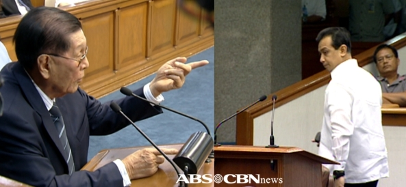 Sen. Juan Ponce Enrile speaking at senate session where Sen. Antonio Trillanes walks out. (Shots on Sept 19, 2012 by Marco Gutierrez and Bobot Orozco, ABS-CBN News)