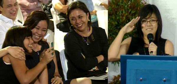 Jillian, Aika, Atty. Leni, and Tricia Robredo during light moments at the city tribute for Jesse Robredo.