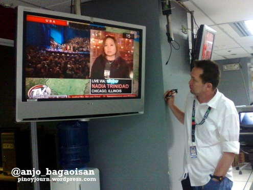At the ABS-CBN Newsroom: Watching Nadia Trinidad report on Election Night live on TV Patrol (Shot by Anjo Bagaoisan)