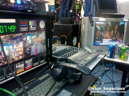 ABS-CBN Video monitors on Obama Reelection (Shot Dec 7, 2012 by Anjo Bagaoisan)