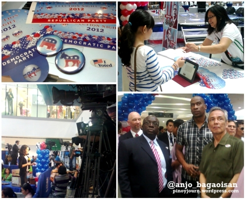 Election paraphernalia for those who vote in the mock polls, local media reporting live, and US Amb. Harry Thomas observes the polls with Coach Norman Black and singer/thought leader Jim Paredes (Shots by Anjo Bagaoisan)