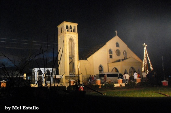 St. James the Apostle Parish in Cateel, Davao Oriental at night - Christmas 2012 with Christmas tree (Shot by Mel Estallo)