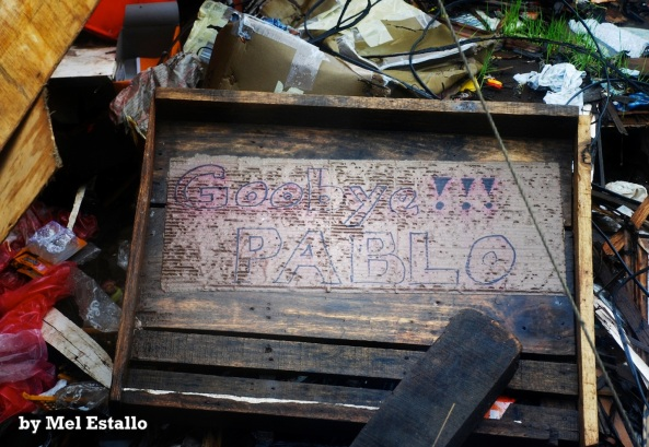 Sign among the ruins of Cateel, Davao Oriental -- Goodbye Pablo (Shot by Mel Estallo)