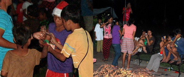 Children in Cateel plaza playing with firecrackers on Christmas eve 2012 (Shots by Bernie Mallari & Anjo Bagaoisan)