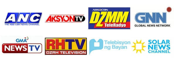 Logos of Philippine TV news channels: ANC, Aksyon TV, DZMM Teleradyo, GNN, GMA News TV, RH TV, PTV 4, Solar News Channel