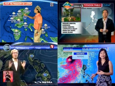 Philippine Primetime weather anchors: Kim Atienza of TV Patrol; Nathaniel Cruz of 24 Oras; Lourd de Veyra of Aksyon; and Mai Rodriguez of Solar Network News