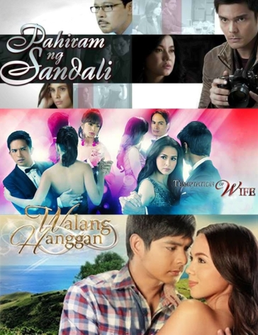 Composite of teleseryes with SPG episode ratings: GMA 7 Pahiram ng Sandali and Temptation of Wife, and ABS-CBN Walang Hanggan