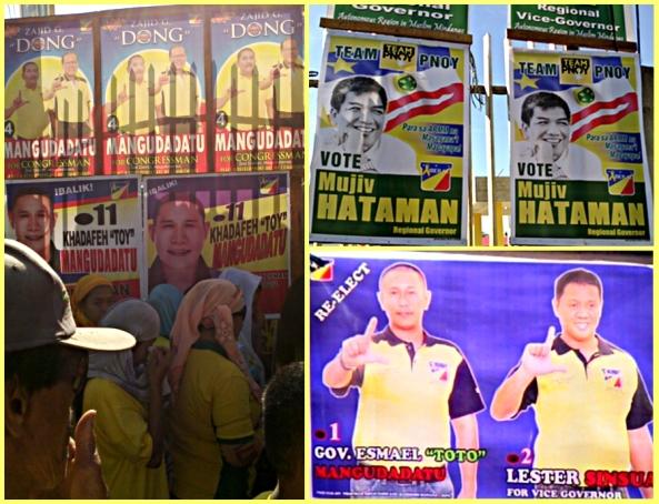 Campaign posters of Liberal Party bets Hataman ang Mangudadatu