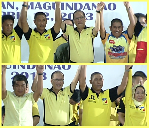 President Aquino raises the hands of top Liberal Party candidates in ARMM and Maguindanao, April 12, 2013 (Shots by Isagani Taoatao, ABS-CBN News)