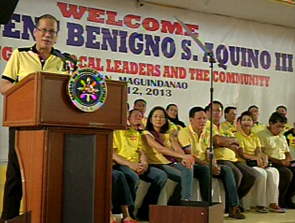 President Benigno Aquino III speaking at a community meeting in Buluan, Maguindanao, April 12, 2013 (Courtesy Radio-Television Malacañang)