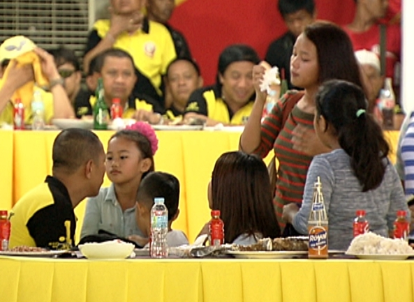 Toto Mangudadatu and his children at the LP meeting de avance in May 2013. (Shot by Gani Taoatao, ABS-CBN News)