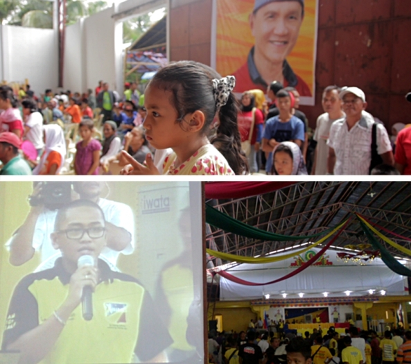 Top: A child at the audience of Mastura's meeting de avance; Bottom: Toto Mangudadatu's son, Buluan vice mayor Datu King Jhazzer speaks at the LP event. (Shots by Mores Heramis & Anjo Bagaoisan)