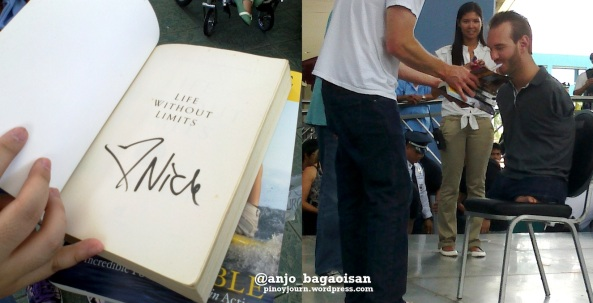 "A signed copy of the book ""Life Without Limits"" by inspirational speaker Nick Vujicic; the author signing books at the SM Mall of Asia (Shots by Anjo Bagaoisan, May 20, 2013)"