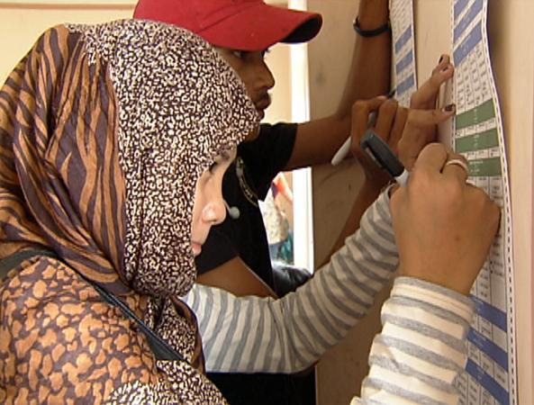 Test voting at Datu Saudi town, Maguindanao (Shot by Gani Taoatao, ABS-CBN News)