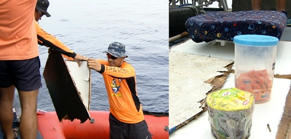 Coast Guard search and rescue efforts bring back wooden planks, a head rest, and food items from the sunk M/V Lady of Carmel (Shot on June 16, 2013 by Val Cuenca, ABS-CBN News)
